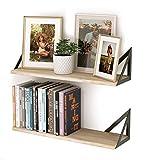 Wallniture Minori Floating Shelves for Wall, Bedroom Organization and Storage Shelves Set of 2, Natural Wood