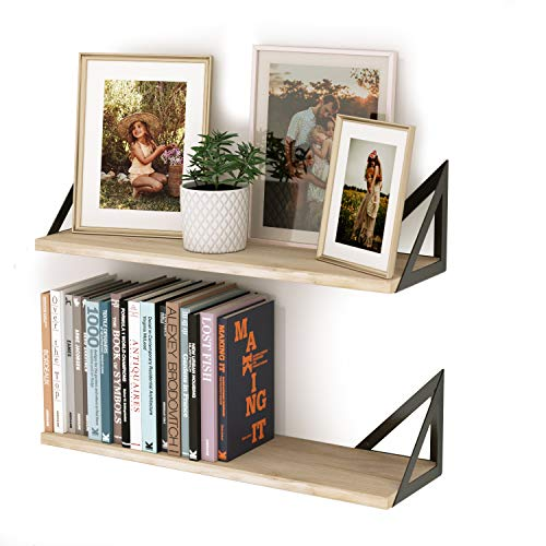 SONGMICS Floating Shelves, Set of 2 Wall Shelves and Tray, for Photo Frames, Books, Storage and Display, in Living Room, Kitchen, Bedroom, White ULWS015W02