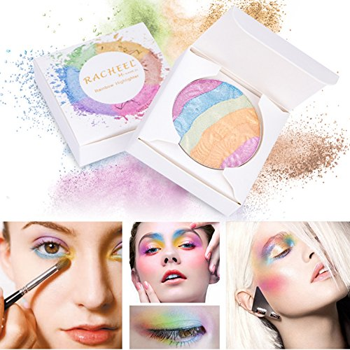 Allbesta 6 Farben Rainbow Highlighter Lidschatten Palette Mineral Sleek Powder für 3D Gesicht Makeup Naked Smoky Eyeshadow Bronzer Blush Contour