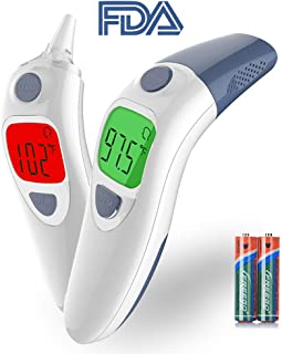 Besyoyo Baby Clinical Ear and Forehead Thermometer,FDA Approved Infrared Digital Thermometer,Fast and Accurate Thermometer with Fever Alarm for Kids & Adults(Included Battery and Oral Thermometer)