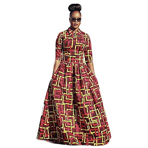 Fashion African Women's Boubous Traditional Cultural Wear Big Swing Dress (X-Large, Red)