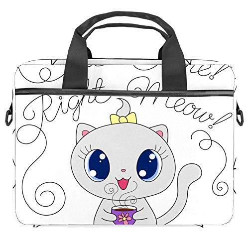 Niedliche Cartoon-Katze mit Tasse, Laptop-Tasche, Leinen-Muster, Aktentasche für 13,4-14,5 Zoll Apple MacBook Laptop Aktentasche