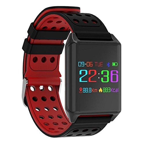Duwin Smart R11 kleurenbeeldscherm hartslag-bloeddrukmeter IP67 waterdicht en stofdicht Bluetooth armband Activity Tracker IOS8.0 en Android 4.4 smartphone, rood