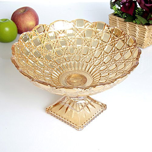 Creative High feet Gold Glass Fruit Dish Modern Styling Fashion High Capacity Dried Fruit Plate Coffee Table Home Decoration Candy Plate Living Room Decoration Large