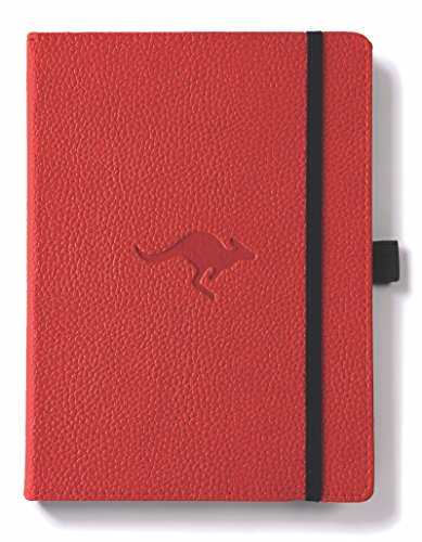 Dingbats Wildlife Medium A5+ (6.3 x 8.5) Hardcover Notebook - PU Leather, Perforated 100gsm Cream Pages, Pocket, Elastic Closure, Pen Holder, Bookmark (Lined, Red Kangaroo)