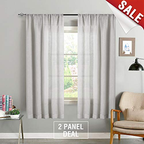 Linen Look Sheer Curtains for Bedroom 63 inch Length Window Curtain Panels Rod Pocket Window Treatment Set for Living Room (2 Panels, Grey)