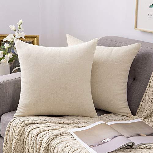MIULEE 2er Pack Leinenoptik Home Dekorative Kissenbezug Kissenhülle Kissenbezug für Sofa Schlafzimmer mit Reißverschlüsse 40x40 cm Creme Weiß
