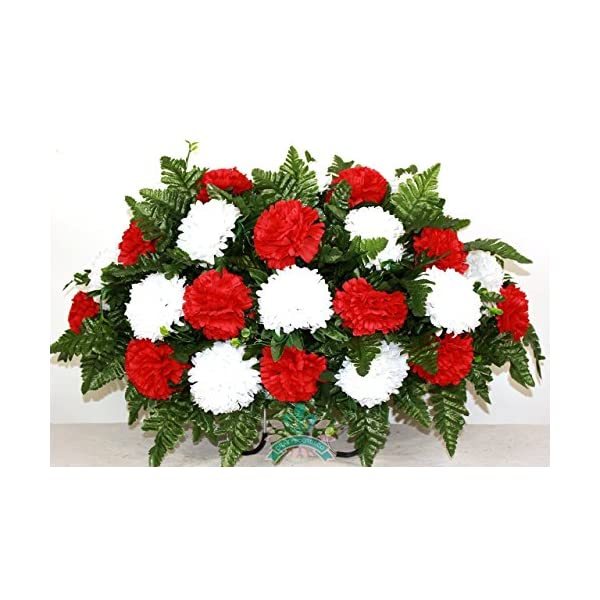 XL Artificial Silk Flower Cemetery Tombstone Grave Saddle