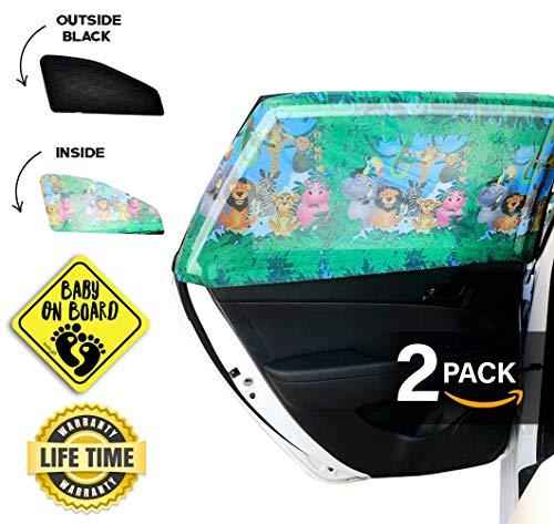 Pare-soleil universel pour fenêtre arrière latérale de voiture - Protection maximale contre les UV pour bébé, les enfants et les chiens Maillage de qualité supérieure - 1 kit (2 pièces) avec motifs animaux de la jungle noir/couleur