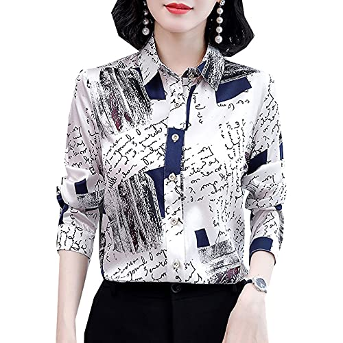 Camisa De Gasa para Mujer Camisa De Solapa De Temperamento De Manga Larga De Todo FóSforo A La Moda