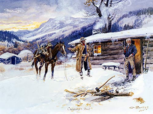 """Charles Marion Russell Christmas Meat 1915 C. M. Russell Museum 24"""" x 18"""" Fine Art Giclee Canvas Print (Unframed) Reproduction"""