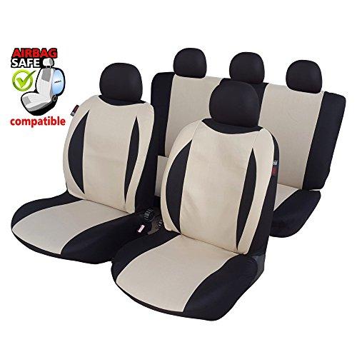 Akhan SB604 - Sitzbezug Set Sitzbezug Sitzbezüge Schonbezüge Schonbezug mit Seitenairbag Schwarz / Beige
