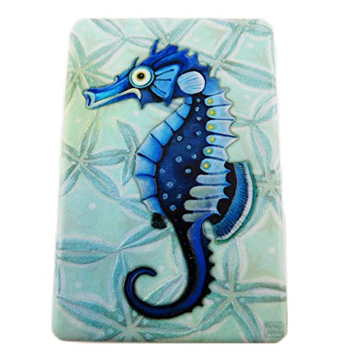 Allen Designs [R1978] - Miroir de poche 'Allen Designs' bleu (hippocampe) - 8.5x5.5 cm