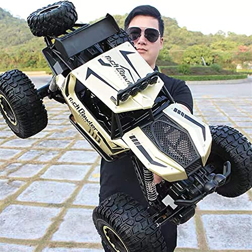 Kikioo Remote Control Car, 1:10 Giant Children RC Car Monster Reptile Truck 4WD Alloy Off Road Rock Crawler Electric Car Kids Adults Drift Racing Car 2.4Ghz Climbing Buggy Car Boys Black