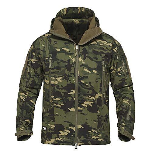 Memoryee Uomo Tattico Camouflage Softshell Giacca Outdoor Militare Pile Fodera Impermeabile Antivento Giubbotto con Cappuccio/Green CP/2XL