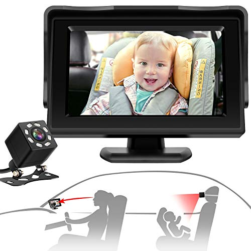 CHERYLON Smart Baby Car Mirror with Camera, Car Seat Mirror with Night Vision, Safely Monitor Infant Child in Rear Facing Car Seat with Wide Clear View, Easily Observe the Baby's Move