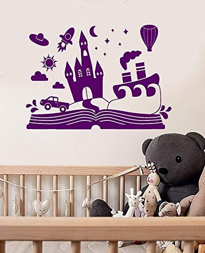 JXND Vinilo Adhesivos de Pared Dibujos Animados Cuento de Hadas Libro Castillo decoración Pegatinas Dormitorio decoración 58x42cm