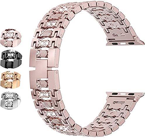 SUNEVEN Bling Candy Armbänder kompatibel mit Apple Watch 38 mm 40 mm 42 mm 44 mm Serie 5 4 3 2 1, Metall-Schmuck Strass Ersatzarmband (Rose Pink, 42 mm/44 mm)