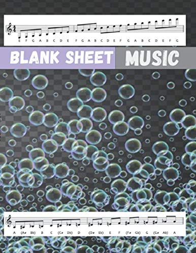 Blank Sheet Music Staff Base Clef Music Paper, Shampoo bubbles gradient background cover, 100 pages - Large(8.5 x 11 inches)