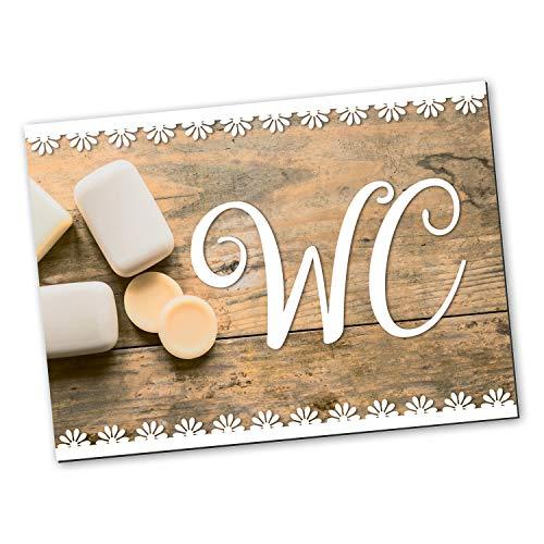 Logbuch-Verlag Cartel para puerta de inodoro con aspecto de madera vintage, color marrón y blanco, rectangular, 14,8 x 10,5 cm, incluye puntos adhesivos neutrales, para cuarto de baño