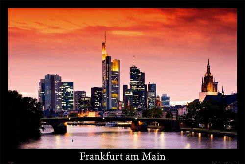 Deutsche Städte - Frankfurt am Main - Skyline Städte City Poster Plakat Druck - Grösse 91,5x61 cm