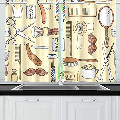 ENEVOTX Haircut Tool Retro Design Barber Shop Kitchen Curtains Window Curtain Tiers for Café, Bath, Laundry, Living Room Bedroom 26 X 39 Inch 2 Pieces