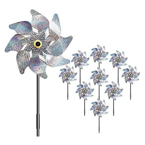 Feixing Molino de viento para pájaros, molino de viento reflectante antipájaros para jardín, huerto, granja, asustar a los pájaros, fácil de montar, proteger el jardín, huerto, granja