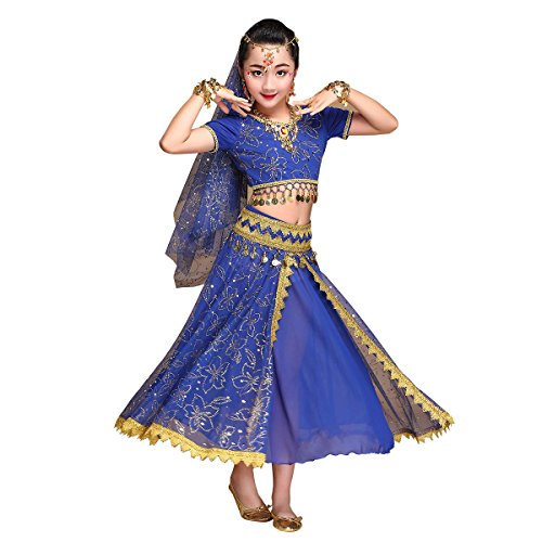 Kids Belly Dance Costume Bollywood Dress – Halloween Chiffon Dance Outfit Costumes with Head Veil for Girls(Blue,X-Large)