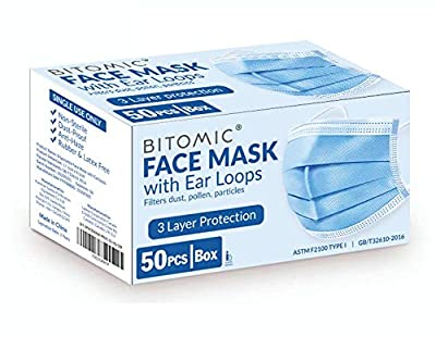 Face Mask 50 Pcs/Box - Single Use with 3PLY 95%+ Filter 3 Layer Breathing Mask for Face Protection - Comfortable with Noseband, Earloop   Disposable Face Mask Procedure   Dust-Proof, Latex Free