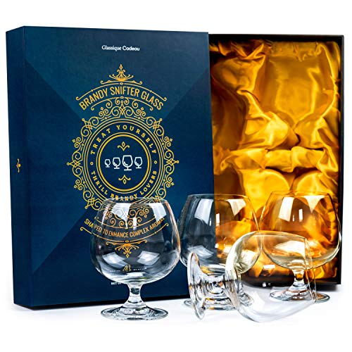 Large 21 oz Crystal Brandy and Cognac Sniffer Glasses   Set of 4 Short Stem Giant Snifter Bowls   Drinking and Tasting Glassware for Bourbon, Scotch, Tequila, Armagnac, Rum, Liquor, Beer