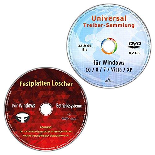 Universal Treiber-Sammlung für Windows 10 / 8 / 7 / Vista / XP (32 & 64 Bit) alle (PC & Notebook) Modelle + Festplatten Löscher & Formatiere, Datenvernichter, Sichere Datenlöschung