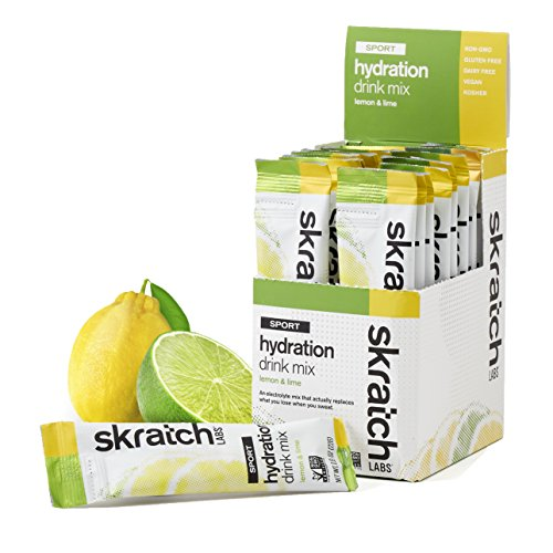 SKRATCH LABS Sport Hydration Drink Mix, Lemon Lime (20 Single Serving Packets) - Electrolyte Powder Developed for Athletes and Sports Performance, Gluten Free, Vegan, Kosher