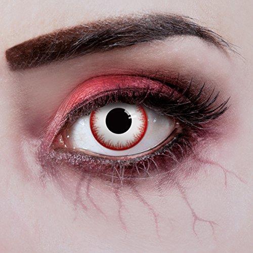 aricona Farblinsen – deckend weiß – farbige Kontaktlinsen ohne Stärke – Zombie Night Augenlinsen für Halloween, bunte 12 Monatslinsen - 2