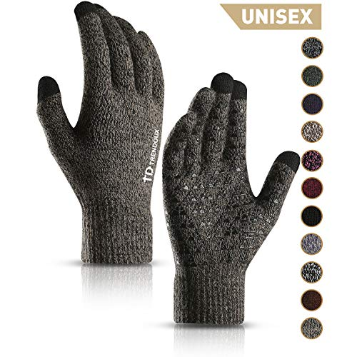 TRENDOUX Winter Gloves, Knit Touch Screen Glove Men Women Texting Smartphone Driving - Anti-Slip - Elastic Cuff - Thermal Soft Wool Lining - Hands Warm in Cold Weather - Gray - M