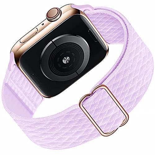 HILIMNY Solo Loop Kompatibel mit Apple Watch Armband 38mm 40mm für Männer Frauen, geflochtenes elastisches elastisches Nylon Sport Ersatzband für IWatch Serie 6/5/4/3/2/1 / SE, Light Purple 38mm 40mm