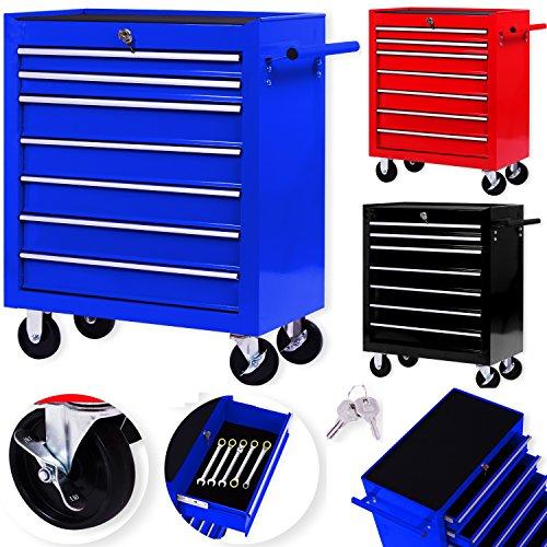Masko® Werkstattwagen - 7 Schubladen, blau ✓ Abschließbar ✓ Massives Metall | Werkzeug-Wagen | Profi Werkstatt-Wagen | Rollwagen Werkzeugaufbewahrung | Schubfächer mit Kugelgelagerte Schienen