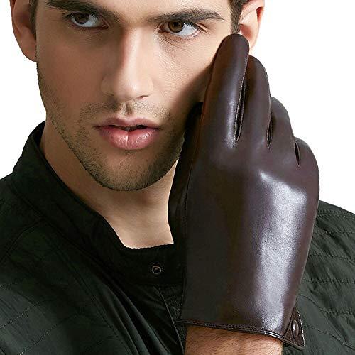 D.B .MOOD Echte Leder-Handschuhe Touch-Screen Warm Fäustlinge Fleece Gefüttert Fahrhandschuhe für Herren Glattes Futter Braun M