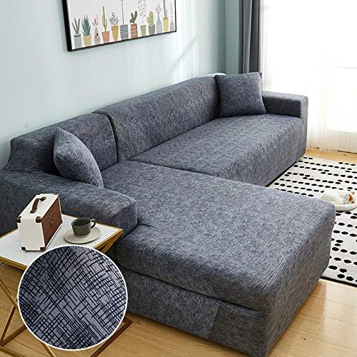 B/H Funda sofá Duplex,Funda de sofá elástica para Esquina de Sala de Estar en Forma de L Longue Sofa Slipcover-3seater_and_3seater,Tejido elástica Cubiertas de sofá