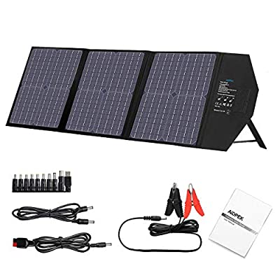 AIDPEK 60W Foldable Solar Panel with Kickstand,Portable Solar Charger with QC3.0 USB Ports&18V DC Output for AIDPEK Portable Generator / 8mm Goal Zero Yeti Power Station/Jackery/USB Devices
