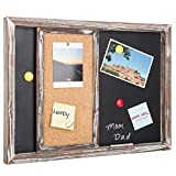 MyGift Torched Wood Wall-Mounted Magnetic Chalkboard & Sliding Cork Board