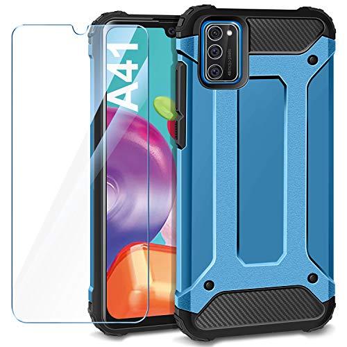 AROYI Samsung Galaxy A41 Hülle + Panzerglas, Samsung Galaxy A41 Hülle Outdoor Handyhülle Tough Silikon TPU + PC Bumper Doppelschichter Schutz Schutzhülle für Samsung Galaxy A41 Blau