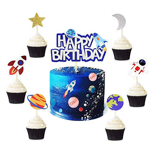 Keaziu 25 Pack Space Cupcake Toppers Space Happy Birthday Cupcake Toppers Planet Party Supplies Rocket Astronaut Cupcake Decoration Space Theme Party