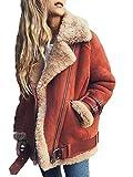 Minetom Femme Hiver Manteau Mode Veste De Motard Chauds Mesdames Veste en Daim Parka Style De Rue Extérieur Coat Jacket Rouge Clair FR 40