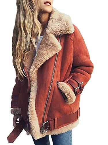 Minetom Frauen Chunky Wildleder Wolle Biker Jacke Mantel Fleece Outwear Hellrot DE 50