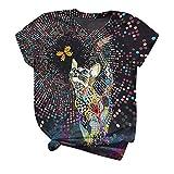 XOXSION Camiseta de verano para mujer, tallas grandes, manga corta, con estampado de animales en 3D, cuello redondo, para adolescentes, niñas y mujeres, túnica B negro. XXXXXL