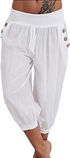 Jmwss QD Women's Casual Trousers High Waist Capri Pants Baggy Aladdin Pant Light Blue Medium