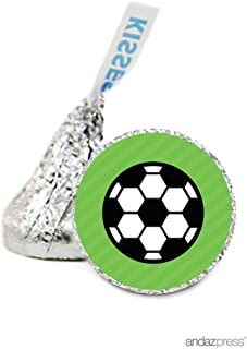 Andaz Press Chocolate Drop Labels Stickers, Birthday, Soccer, 216-Pack, for Futbol Themed Hershey's Kisses Party Favors, Gifts, Decorations
