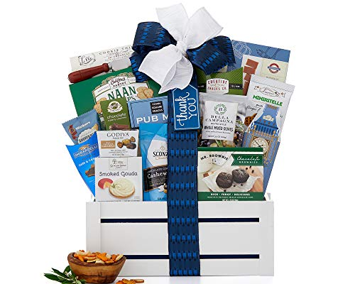 Wine Country Gift Baskets Thanks A Million Gift Set Reusable Keepsake Container Full of Gourmet Food Smoked Gouda Cheese Spread Peppercorn Crackers Godiva Chocolate Brownies Ghirardelli Squares