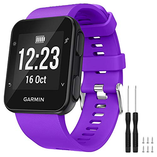 GVFM Band Compatible with Garmin Forerunner 35, Soft Silicone Replacement Watch Band Strap for Garmin Forerunner 35 Smart Watch, Fit 5.11-9.05 Inch (130-230 mm) Wrist (Purple)