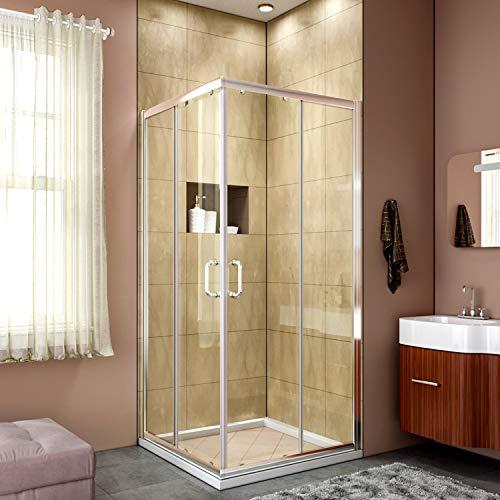 ELEGANT Sliding Shower Enclosure 36 in. D. x 36 in. W. x 72 in. H, Corner Shower Door 2 Stationary Panels,Shower Panel 1/4 in. Clear Glass,Chrome Finish